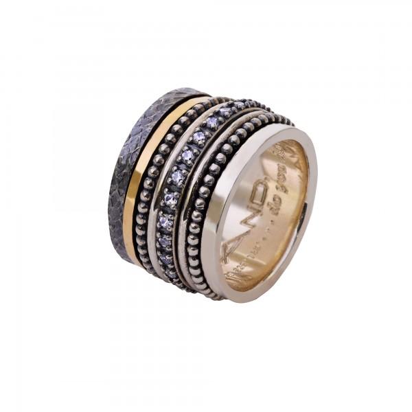 Χειροποίητο Δαχτυλίδι Ασήμι 925 - Χρυσό 18Κ KD-4035