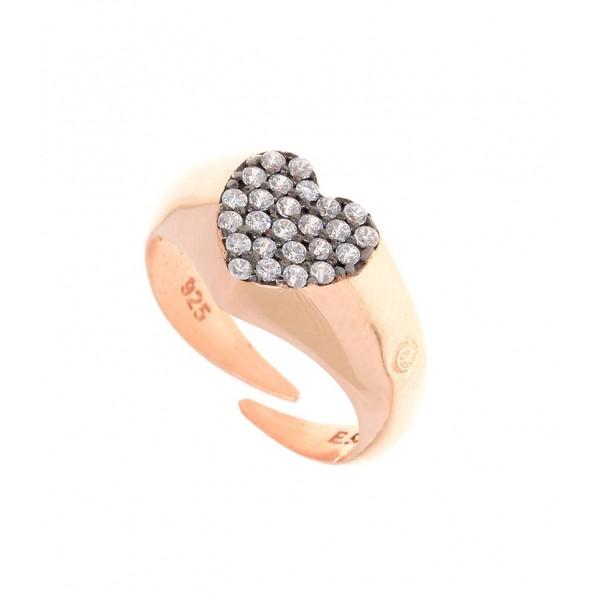 Δαχτυλίδι ασήμι 925 με ροζ επιχρύσωση & λευκά zirconia GRE-30857