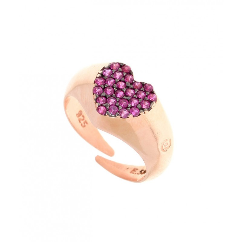 Δαχτυλίδι ασήμι 925 με ροζ επιχρύσωση & zirconia GRE-30855