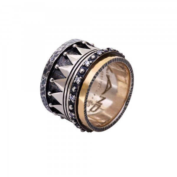 Χειροποίητο Δαχτυλίδι Ασήμι 925 - Χρυσό 18Κ KD-4091