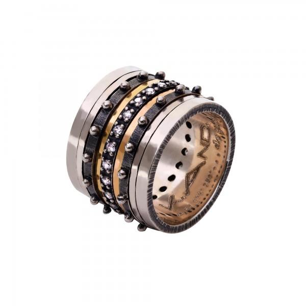 Χειροποίητο Δαχτυλίδι Ασήμι 925 - Χρυσό 18Κ KD-4031