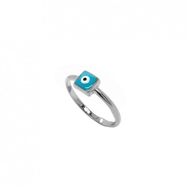 Δαχτυλίδι ασήμι 925 επιπλατινωμένο με ματάκι GRE-57623