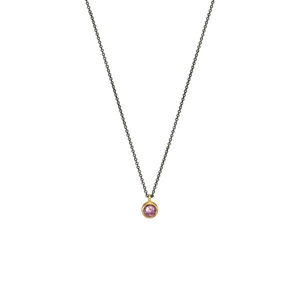 Handmade 14K Gold Necklace wih Pink Tourmaline KRI-E218TP