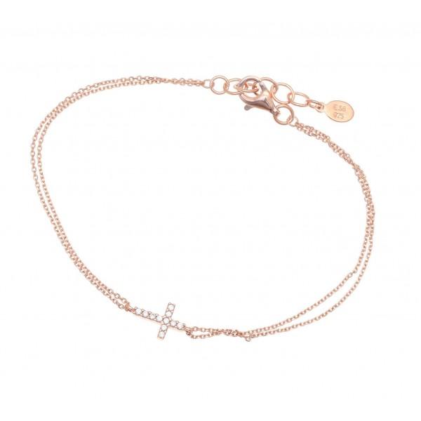 Βραχιόλι ασήμι 925 με ροζ επιχρύσωση & λευκά zirconia GRE-33763
