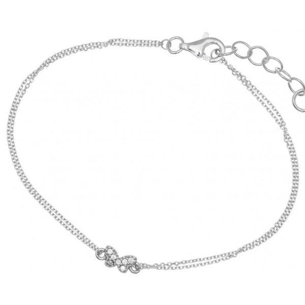 Βραχιόλι ασήμι 925 επιπλατινωμένο με λευκά zirconia GRE-34644