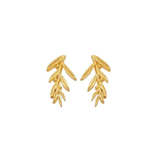 Χειροποίητα Σκουλαρίκια Χρυσό Κ14 Ελιά KRI-S/M63