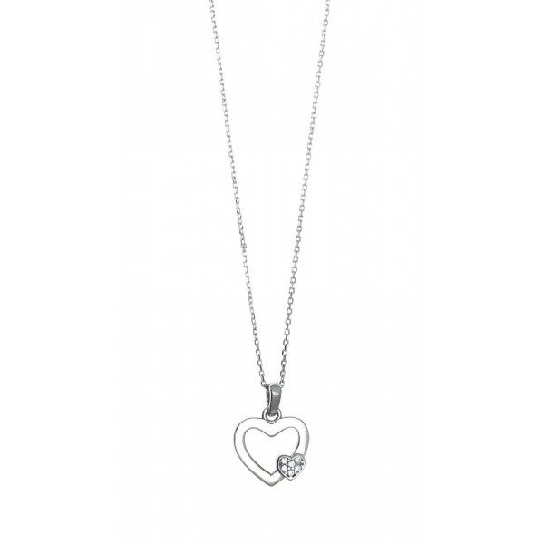 Necklace in silver 925 rhodium plated with white zirconia GRE-41228