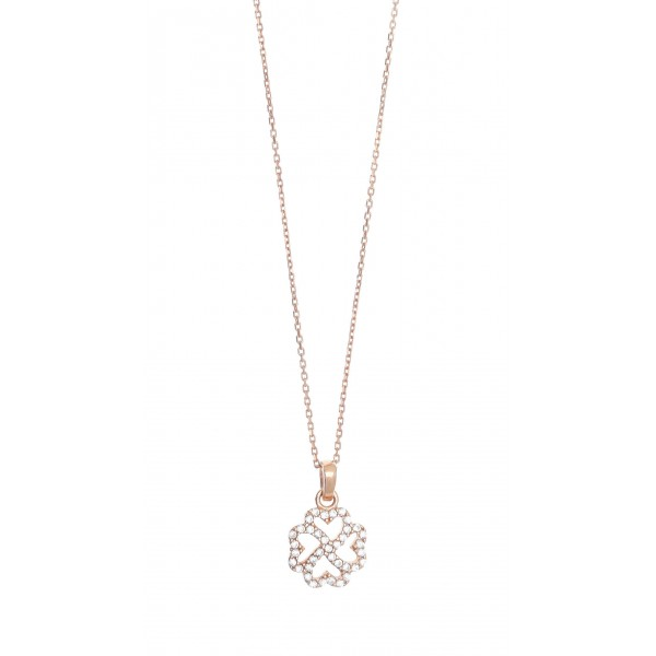 Necklace in silver 925 pink gold plated & zirconia GRE-41370
