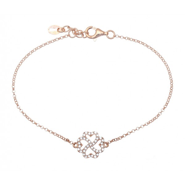 Bracelet in silver 925 pink gold plated with white zirconia GRE-41458