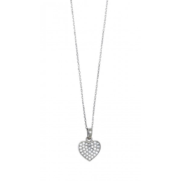 Necklace in silver 925 rhodium plated with white zirconia GRE-41387
