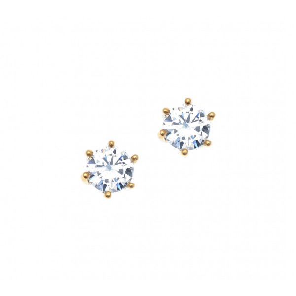 Σκουλαρίκια ασήμι 925 επιχρυσωμένα & με zirconia GRE-41918