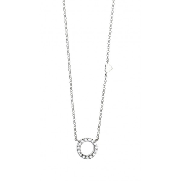 Necklace in silver 925 rhodium plated with zirconia GRE-42225