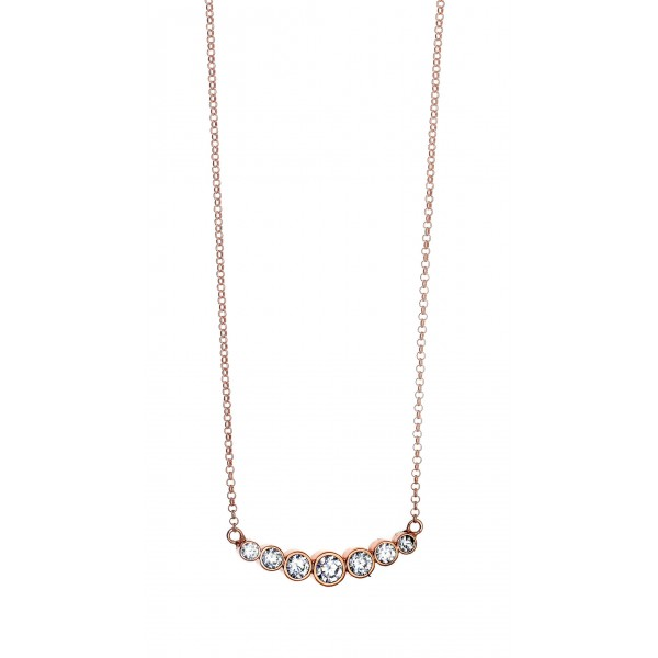 Necklace in silver 925 pink gold plated & zirconia GRE-42959
