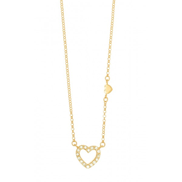 Necklace in silver 925 gold plated with white zirconia GRE-44152