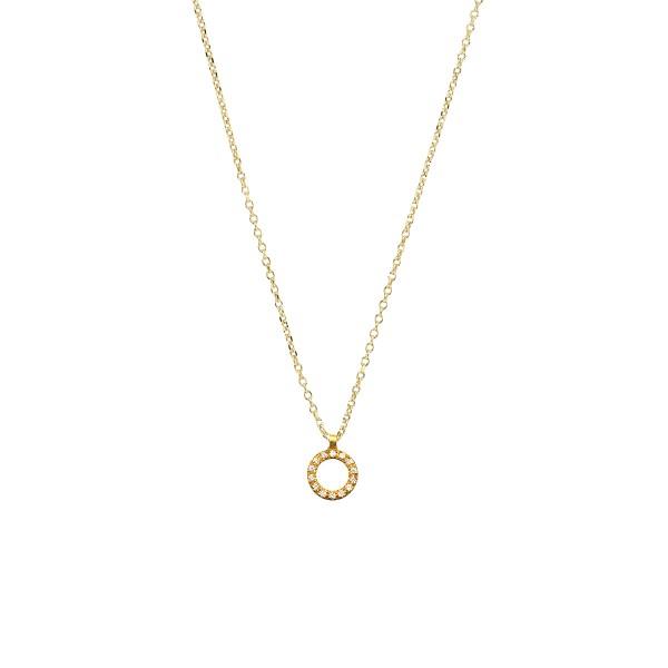 Χειροποίητο χρυσό μενταγιόν 14Κ κύκλος με λευκά zirconia KRI-E41