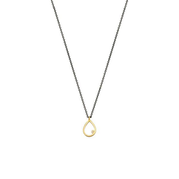 Χειροποίητο χρυσό μενταγιόν 14Κ δάκρυ με λευκή zirconia KRI-E123