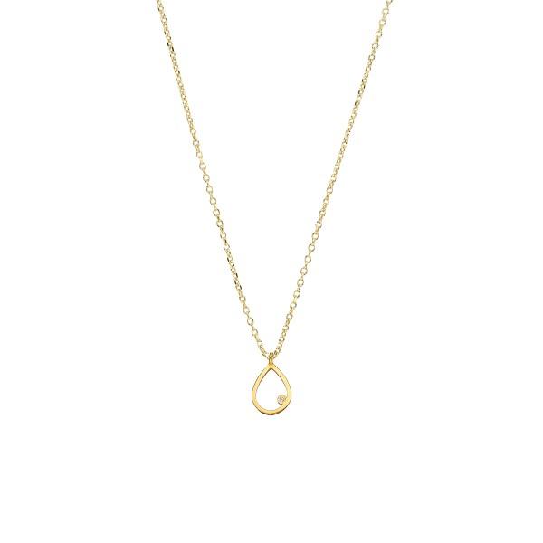 Χειροποίητο χρυσό μενταγιόν Κ14 δάκρυ με λευκό ζιργκόν KRI-E123