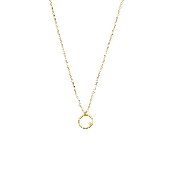 Χειροποίητο χρυσό μενταγιόν Κ14 κύκλος με λευκό ζιργκόν KRI-E124
