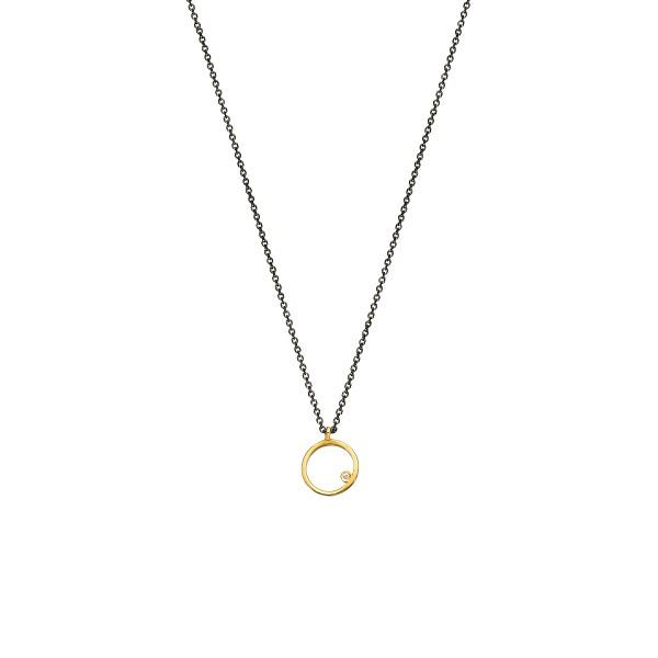 Χειροποίητο χρυσό μενταγιόν 14Κ κύκλος με λευκή zirconia KRI-E124