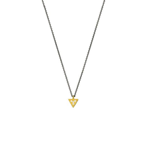 Χειροποίητο χρυσό μενταγιόν Κ14 τρίγωνο με λευκά zirconia KRI-E248