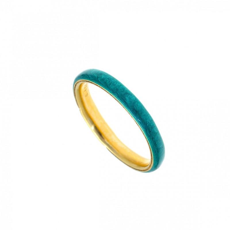 Δαχτυλίδι ασήμι 925 επιχρυσωμένο με σμάλτο GRE-58598