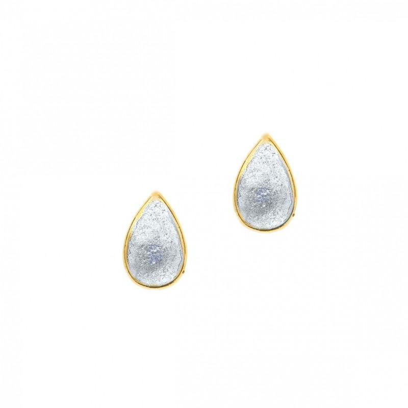Σκουλαρίκια ασήμι 925 επιχρυσωμένα με σμάλτο GRE-59443