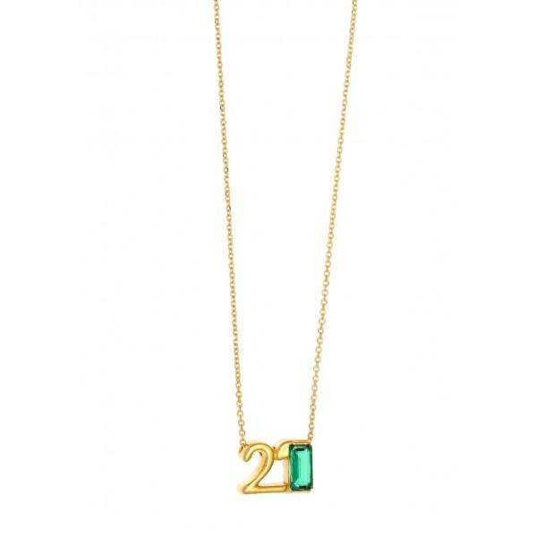 Κολιέ γούρι 2021 ασήμι 925 επιχρυσωμένο με zircon GRE-59754