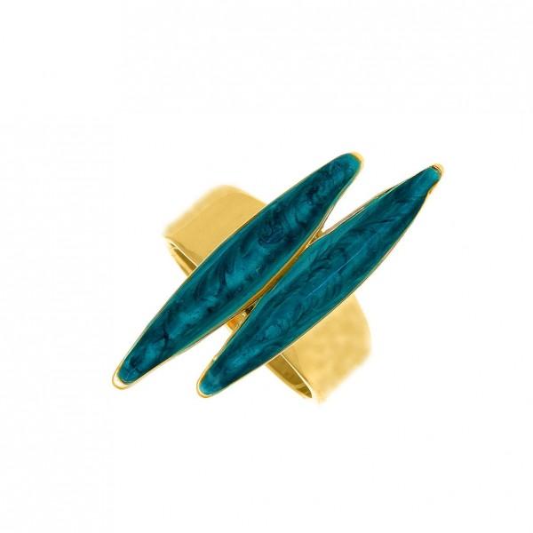 Δαχτυλίδι ασήμι 925 επιχρυσωμένο με σμάλτο GRE-58822