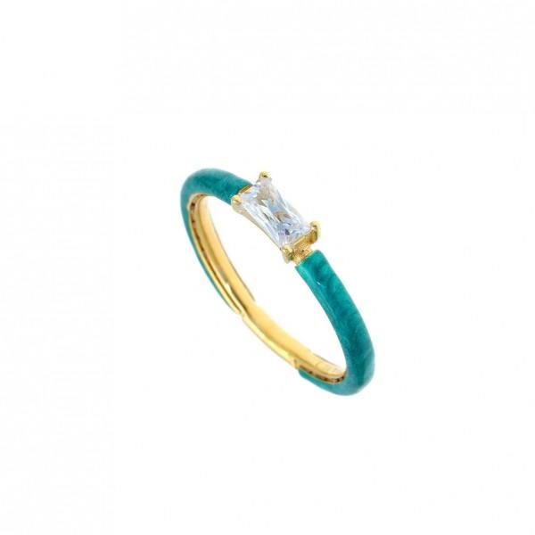 Δαχτυλίδι ασήμι 925 επιχρυσωμένο με σμάλτο και zirconia GRE-58698