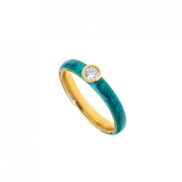 Δαχτυλίδι ασήμι 925 επιχρυσωμένο με σμάλτο και zirconia GRE-58700