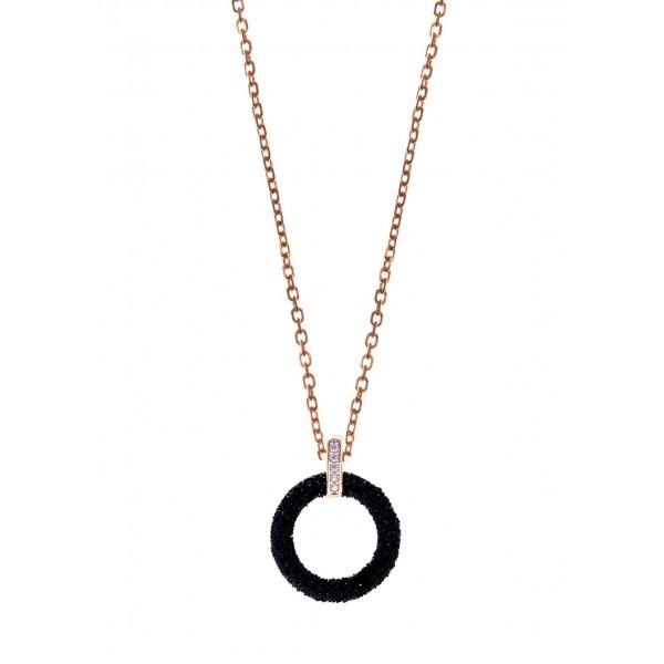 Κολιέ ασήμι 925 με ροζ επιχρύσωση,zirconia και glitter GRE-59436