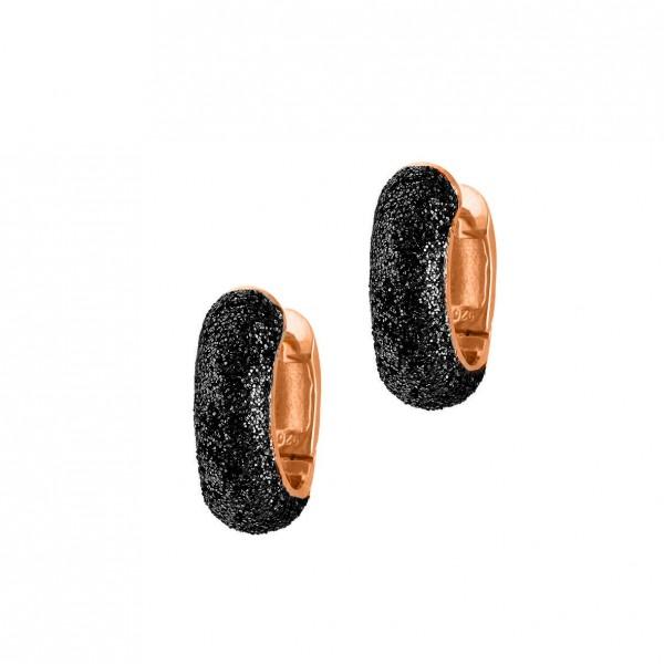 Σκουλαρίκια ασήμι 925 με ρόζ επιχρύσωση και glitter GRE-59263