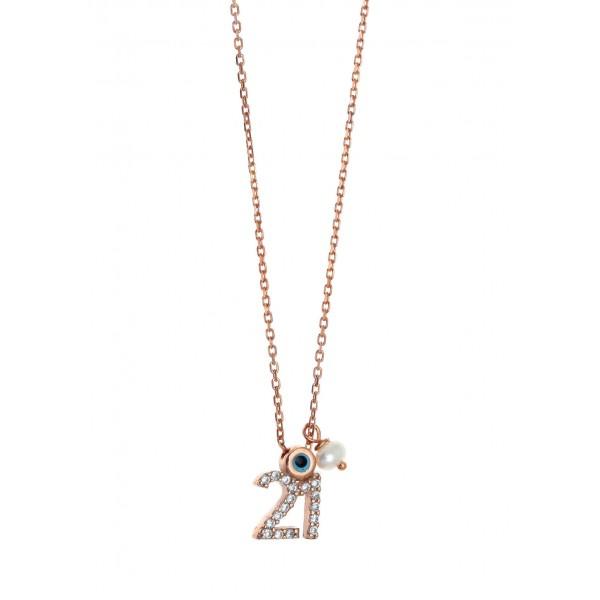 Κολιέ γούρι 2021 ασήμι 925 με ροζ επιχρύσωση και zirconia GRE-59340