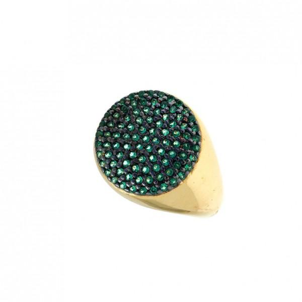 Δαχτυλίδι ασήμι 925 επιχρυσωμένο με zirconia GRE-59178