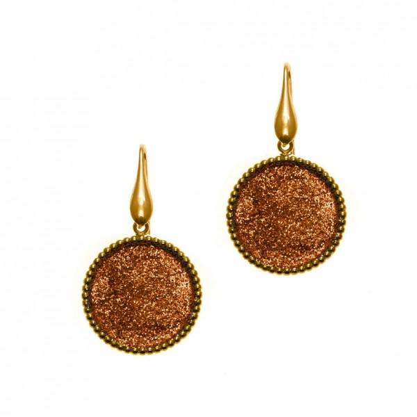 Σκουλαρίκια ασήμι 925 επιχρυσωμένα με glitter GRE-59461