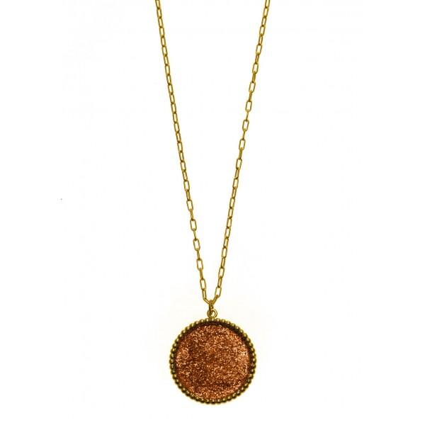 Κολιέ ασήμι 925 επιχρυσωμένο με glitter GRE-58924