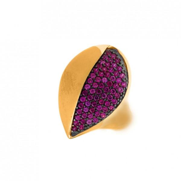 Δαχτυλίδι ασήμι 925 επιχρυσωμένο με zirconia GRE-59174