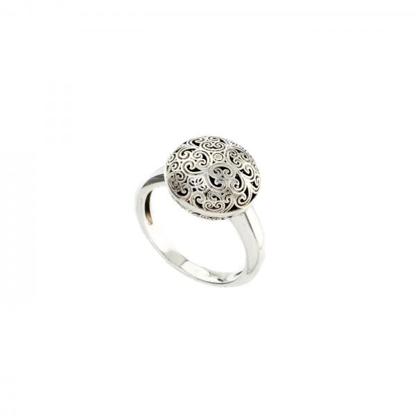 Δαχτυλίδι Στρογγυλό Καλλιστώ οξειδωμένο ασήμι 925 GER-R2029S