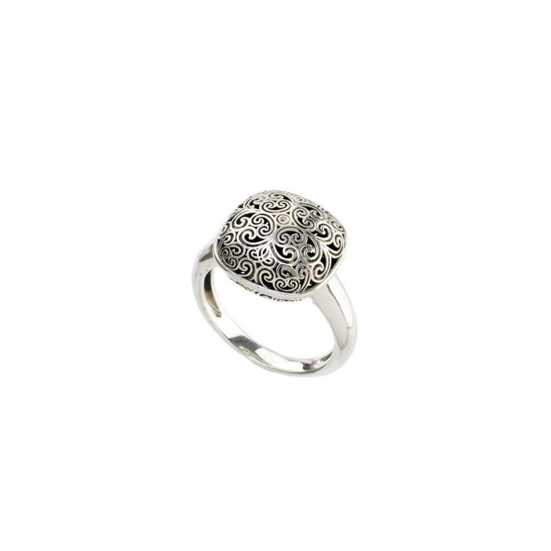 Δαχτυλίδι Τετράγωνο Καλλιστώ οξειδωμένο ασήμι 925 GER-R2026S