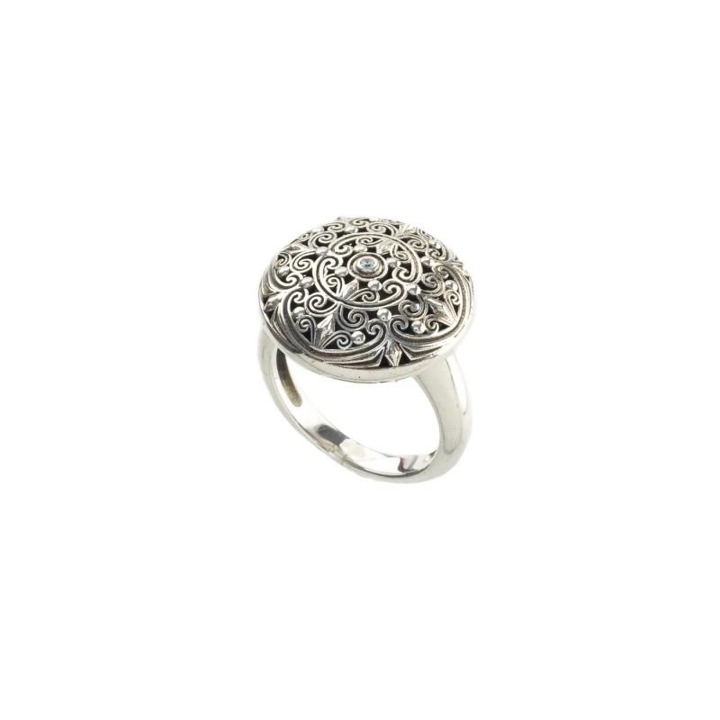 Δαχτυλίδι Καλλιστώ οξειδωμένο ασήμι 925 GER-R2014S