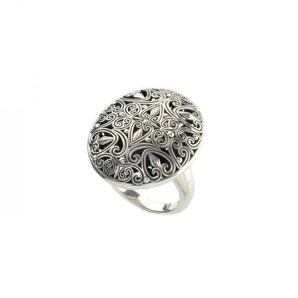 Δαχτυλίδι Οβάλ Καλλιστώ οξειδωμένο ασήμι 925 GER-R2011S