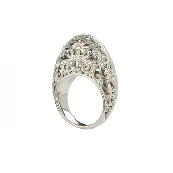 Δαχτυλίδι Statement Καλλιστώ οξειδωμένο ασήμι 925 GER-R2002S