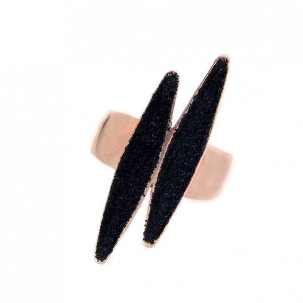 Δαχτυλίδι ασήμι 925 με ροζ επιχρύσωση και glitter GRE-59147