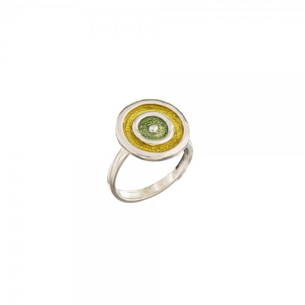 Δαχτυλίδι χειροποίητο σφυρήλατο ασήμι 950 με διπλή επιχρύσωση 24Κ και σμάλτο KON-EYER-S