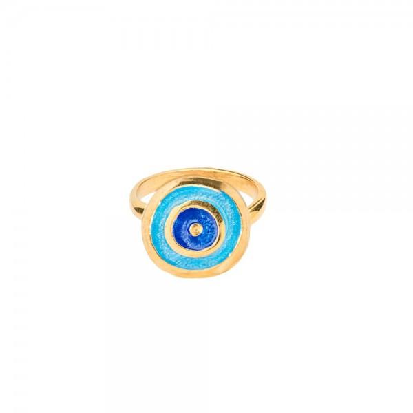 Δαχτυλίδι χειροποίητο σφυρήλατο ασήμι 950 με διπλή επιχρύσωση 24Κ και σμάλτο KON-EYER-G