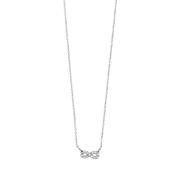 Κολιέ ασήμι 925, επιπλατινωμένο με λευκά zirconia GRE-34642