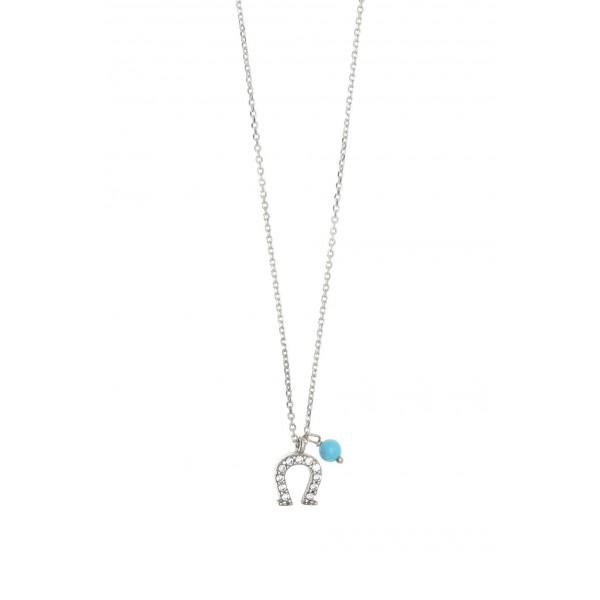 Κολιέ ασήμι 925, επιπλατινωμένο με λευκά zirconia και τυρκουάζ GRE-38104