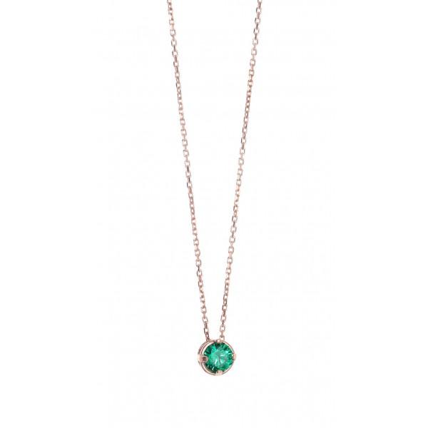 Κολιέ ασήμι 925 με ροζ επιχρύσωση και πράσινο zircon GRE-43768