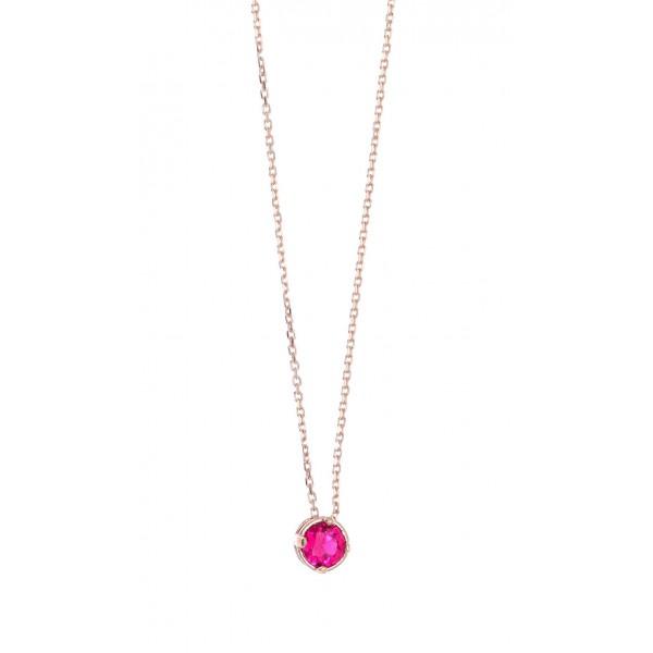 Κολιέ ασήμι 925 με ροζ επιχρύσωση και zircon GRE-43767