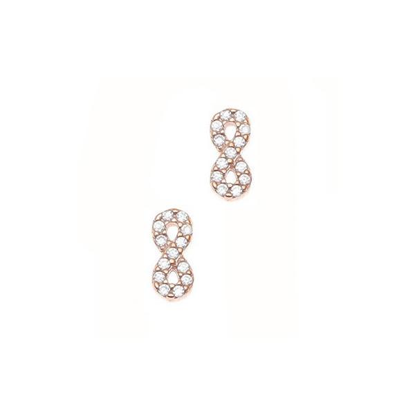 Σκουλαρίκια ασήμι 925, με ροζ επιχρύσωση και λευκά zirconia GRE-45713